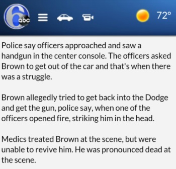 Original Police version of what happened to Brandon Tate-Brown.